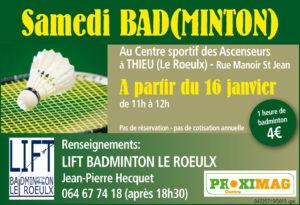 Nouveautés Badminton à partir de janvier 2016