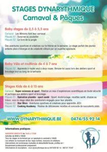 Stages Dynarythmique pour les enfants de 2,5 ans à 13 ans - Congé du carnaval et de printemps 2016