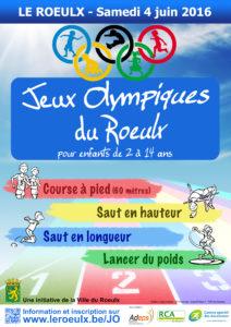 Jeux Olympiques du Roeulx pour les enfants de 2 à 14 ans le samedi 4 juin 2016