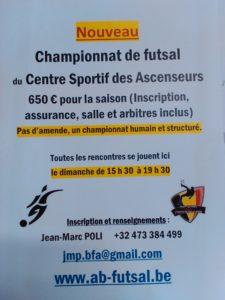 Nouveau championnat de futsal au Centre sportif des Ascenseurs à partir de septembre