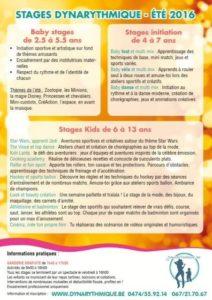 Stages d'été 2016 pour les enfants de 2,5 à 13 ans dispensés par Dynarythmique