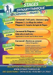 Stages proposés par Dynarythmique pendant les congés de carnaval et Pâques