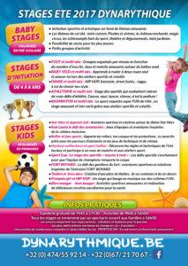 Stages d'été 2017 proposés par Dynarythmique