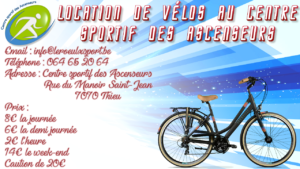 Location de vélos au Centre sportif des Ascenseurs