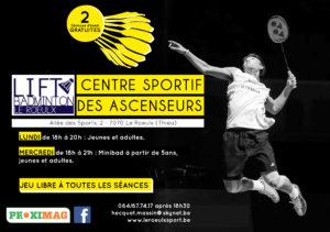 Dès septembre, le badminton reprend ses activités au Centre sportif des Ascenseurs