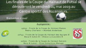 Vendredi 24 mai finales de la Coupe du Hainaut de Futsal !
