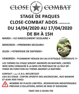 Stage de Close-Combat le 14 avril 2020